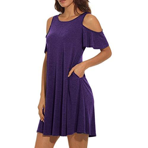 Auifor dames zomer koud schouder tuniek top swing t-shirt losse jurk met zakken