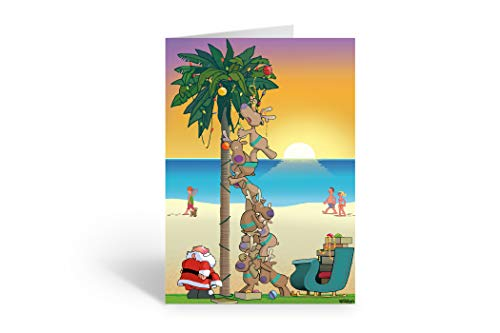 Palm Tree Ocean Sunset Card - Santa Decorates Palm Tree - 18 Boxed Christmas Cards and Envelopes (Standard)