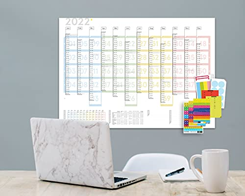 weekview Wandplaner Colour 2022, DIN A1, abwischbar, mit reichlich Zubehör! Lieferung gerollt!