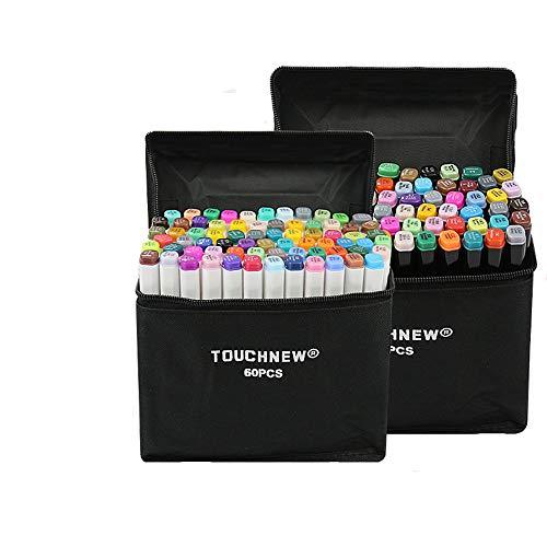 TOUCHFIVE 168 Farbig Dual Tip Stift Sketch Marker Twin Graffiti Pens (Schwarz, 168er Set)