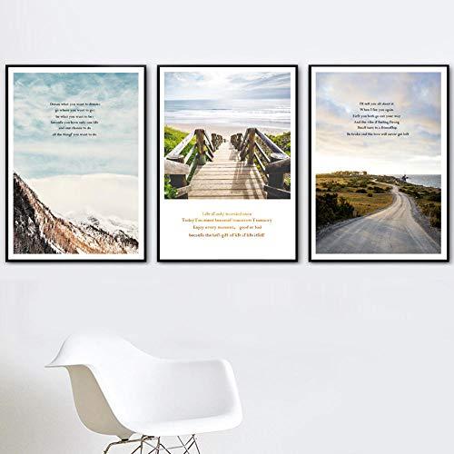 CNHNWJ wand kunstdruk canvas voor de woonkamer zee strand ladder bergstraat boom citaat schilderij Nordic poster en afdrukken wandafbeeldingen (40x60 cm x 3 geen lijst)