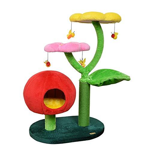 Tiragraffi per Gatti Cat Struttura for Arrampicarsi A Forma di Fiore Confortevole Pet Activity Centre Cat Torre Albero Sisal Tiragraffi QAF0519 (Color : Multi-Colored)
