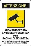 Tempo di Saldi CARTELLO SEGNALETICA VIDEOSORVEGLIANZA CARTELLI SEGNALI AREA SOTTOPOSTA A VIDEOSORVEGLIANZA PER RAGIONI DI SICUREZZA ART 13(D.LGS.196/2003/ CM 20x30