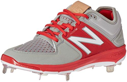 New Balance L3000v3 Chaussures de Baseball en métal pour Homme - - Gris/Rouge, 51 EU Weit