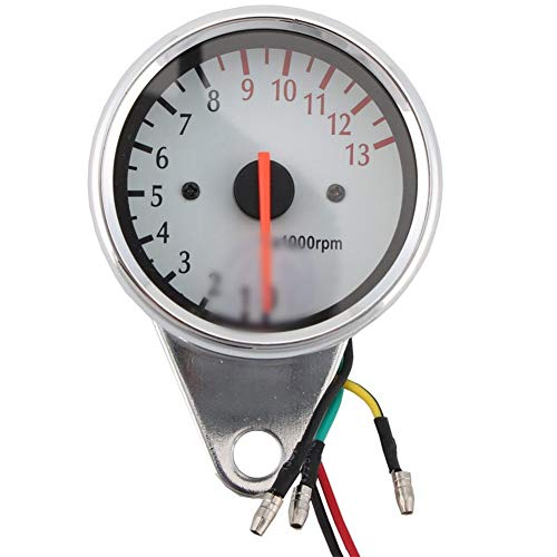 CAIZHIXIANG Universal Motorcycle Tachometer Gauge Motorbike Backlight LED 12V Tachometer Speedometer Tacho Gauge (Color : White, Size : Free)