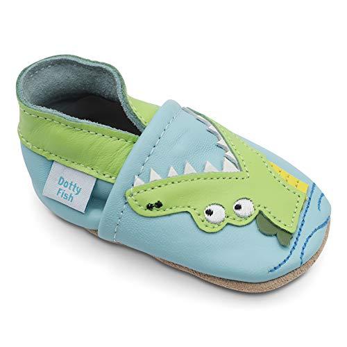 Dotty Fish Weiche Baby und Kleinkind Lederschuhe. Jungen. Blauer Schuh mit grünem Krokodil. 2-3 Jahre (25 EU)