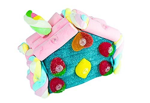 Tarta de chuches y golosinas con forma de casa 16 cm - Regalo original para cumpleaños, bodas y comuniones. Tarta de fresas, nubes, limones y golosinas variadas. (Pequeña)