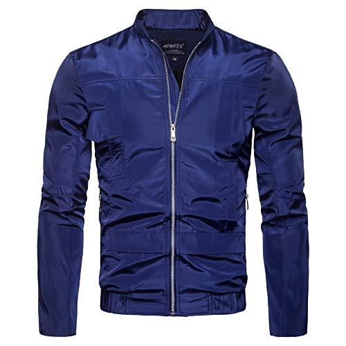 Elonglin Veste Imperméable Varsity Jacket Sweat-Shirt Homme Manches Longues Pull Zippé Bomber Blouson Veste de Pluie Coupe-Vent Bleu Foncé Taille FR 56 (Asie XL)