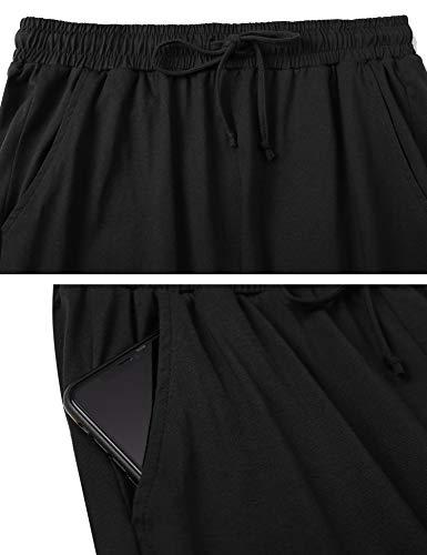 Irevial 100% Algodon Pantalones para Mujer Tallas Grandes Casual Pantalones Chandal Deportivos de Altos Cintura Cinturón y Bolsillos Yoga Pants,Pijama
