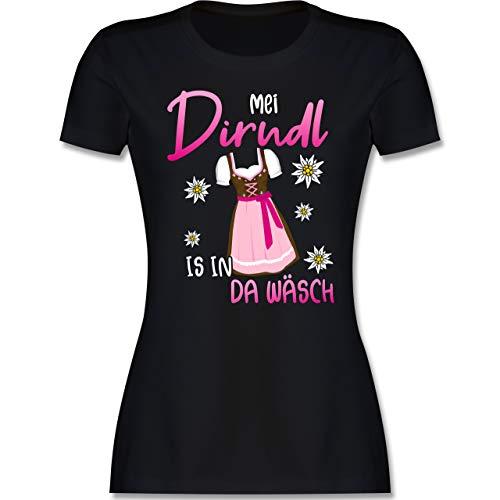 Kompatibel mit Oktoberfest Damen Trachtenshirt - MEI Dirndl is in da Wäsch Edelweiss Weiss - XL - Schwarz - Dirndl Frauen - L191 - Tailliertes Tshirt für Damen und Frauen T-Shirt