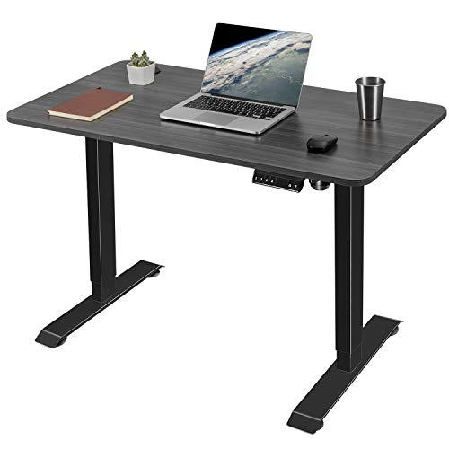 Greesum Escritorio eléctrico de altura ajustable para oficina en casa, mesa de ordenador de diseño moderno de 43 pulgadas para un trabajo saludable, gris