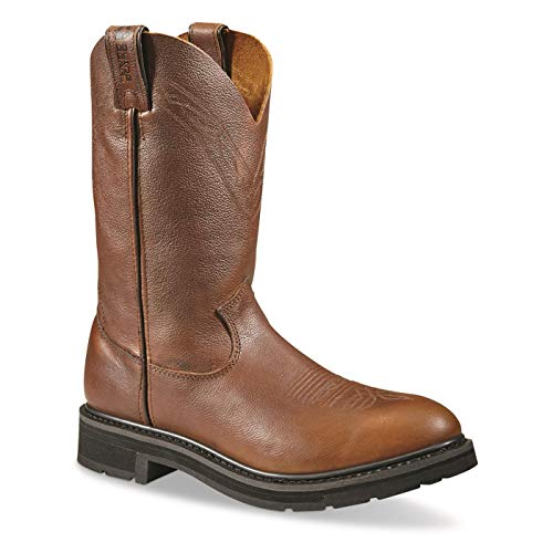 Guide Gear Waterproof Western Work Boots for Men, Slip On Leather Men's Cowboy Boots Round Toe, Brown, 11 2E (Wide)