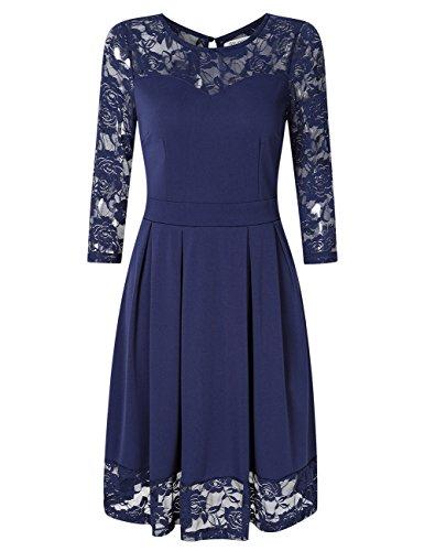 KOJOOIN Damen Elegant Kleider Spitzenkleid Langarm Cocktailkleid Knielang Rockabilly Kleid Blau Dunkelblau L