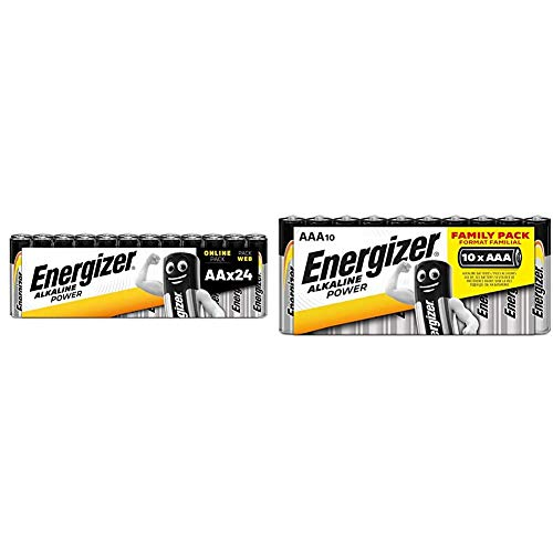 Energizer Batterien AA, Alkaline Power, 24 Stück & Batterie Alkaline Power AAA (Micro / LR03 10er Schlauchware)