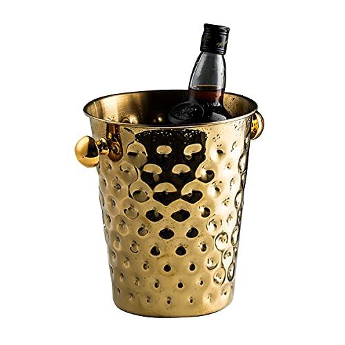 Cubo de hielo de acero inoxidable de 5 l para bebidas fáciles de limpiar, enfriador, cesta de frutas y verduras, almacenamiento en frío para bebidas de vino, cerveza, fiestas, bar, cocina
