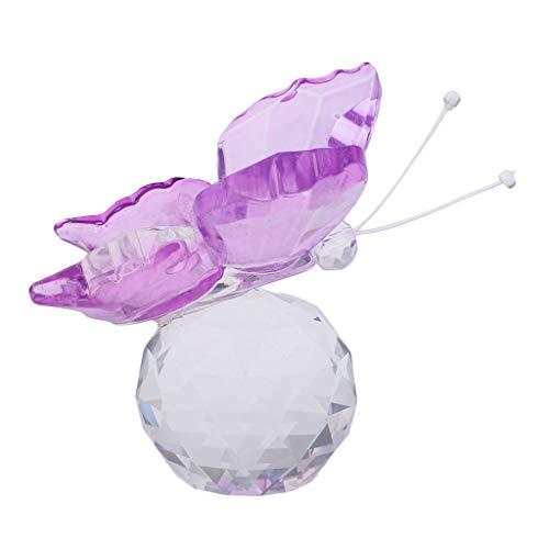 SM SunniMix Presse-Papier de Collection en Cristal en Forme Papillon Volant Décoration pour Table Bureau Fenêtre - Violet