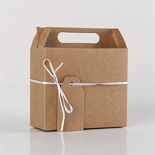 50pcs europäische Kraft Papier Große Geschenk-Süßigkeit schachtelt Favor Hand Kästen Süße Verpackung Beutel & Band-Hochzeit-Geburtstags-Party Supplies (Color : Khaki, Gift Box Size : 145x65x160mm)