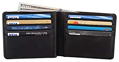 AULIV RFID Blocking Premium Bifold Wallet Passcase for Men with ID Window and Gift Box, Black