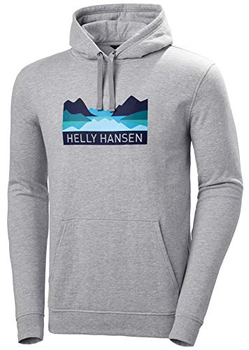 Helly Hansen Nord Graphic Pull Over Hoodie Suéter con Capucha, Hombre, Grey Melange, S