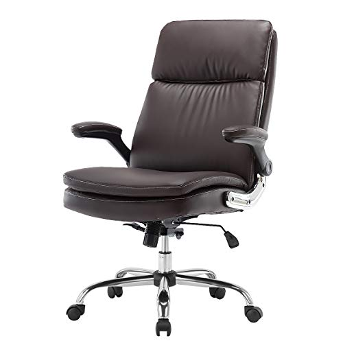 KERMS High Back Bonded Leather Executive Office Chair, Adjustable Recline Locking Flip-up Arms Computer Desk Chair, Thick Padding and Ergonomic Design for Lumbar Support (BN)