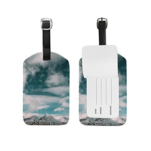 Rock Mountain Horizon PU lederen Bagage Tag ID Tags visitekaartje voor Hang on Travel Bag koffer Bagage
