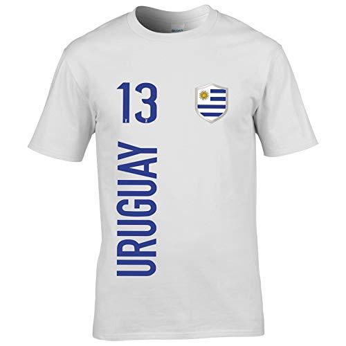 FanShirts4u Herren Fan-Shirt Jersey Trikot - Uruguay - T-Shirt inkl. Druck Wunschname & Nummer WM (XXL, Uruguay/weiß)