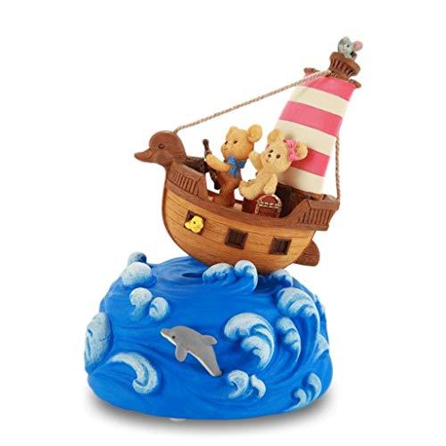 Caja de música Retro para el hogar El pequeño oso náutico de la caja de música caja de música de onda de la nave oscilación regalo de la música de Navidad / caja de regalo de cumpleaños Cajas para joy
