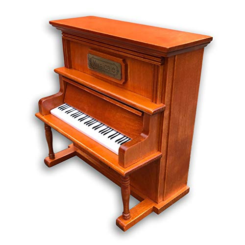 Play (Greensleeves) Wooden Upright Piano Music Box with Sankyo Musical Movement (Brown)