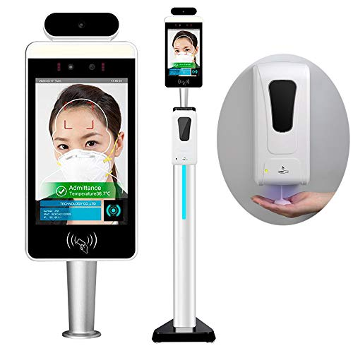8 Inch Face Recognition Temperature Measurement Kiosk Build with Hand Sanitizer Dispenser, Support Face Comparison Library/Attendance Machine/Visitor Management System.