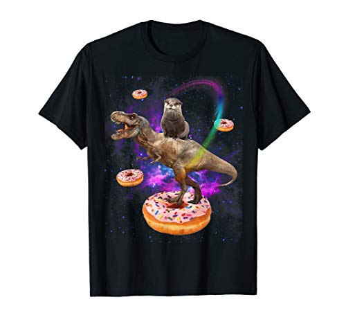 Space Otter Riding Dinosaur T-rex Donuts Galaxy-Funny Otter T-Shirt