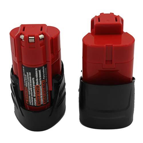 KINSUN 2-Pack Ersatz Elektrowerkzeug Akku 12V 1.5Ah Li-Ion für Milwaukee Schnurloses Bohrgerät Schlagschrauber M12 48-11-2401 48-11-2402 C12 B C12 BX und mehr