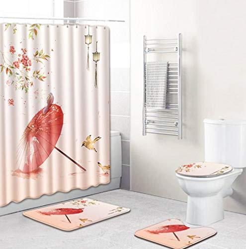 EZEZWSNBB 4-teiliges Duschvorhang-Set mit rutschfesten Teppichen, WC-Deckelbezug und Badematte, Retro roter Regenschirm-Duschvorhang wasserdicht mit 12 Haken 180x180 cm Haus Dekoration