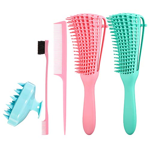 Phoetya 2er Pack Detangler Brush, 8-reihige Detangling Brushes Einstellbare Breite Komfortabler Griff Detangling Comb Shampoo Brush Augenbrauenpinsel für Afro-Haare 3a bis 4c Curly, Wavy, Furry, Curly