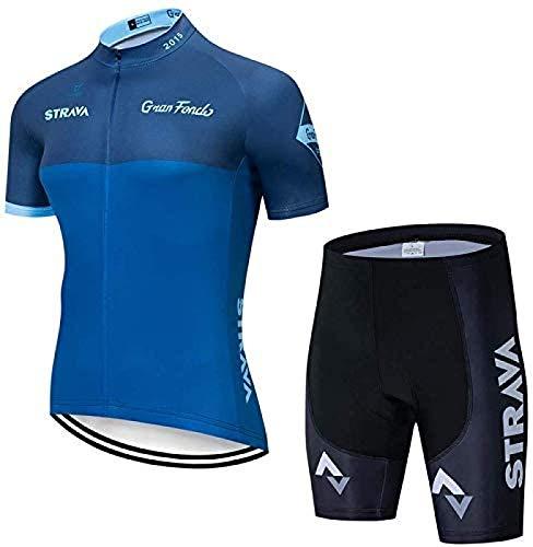 ZHANG Gepolsterte Outdoor-REIT-Sportbekleidung Herren-Radtrikot-Set Short Sleev Jersey Rennrad-Kleidung Lätzchen Und Hemden Shorts,C-XXLarge