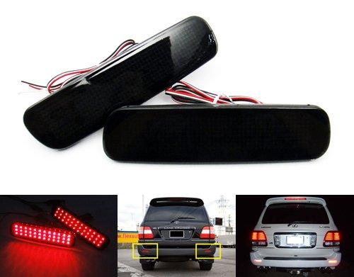Lot de 2 réflecteurs de pare-chocs arrière à LED pour Land Cruiser Amazon 100 Series LX470 Noir fumé