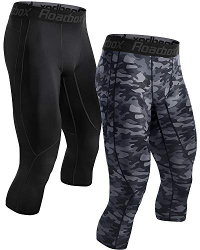 Roadbox Men's Compression Pants 3/4 Baselayer 2pack Dry Cool Running Workout Athletic Sports Active Tights Leggings