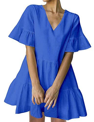 FANCYINN Sommerkleid Damen Kurz Tunika Kleid V-Ausschnitt Volant Lockeres Swing Mini Kleider Blau