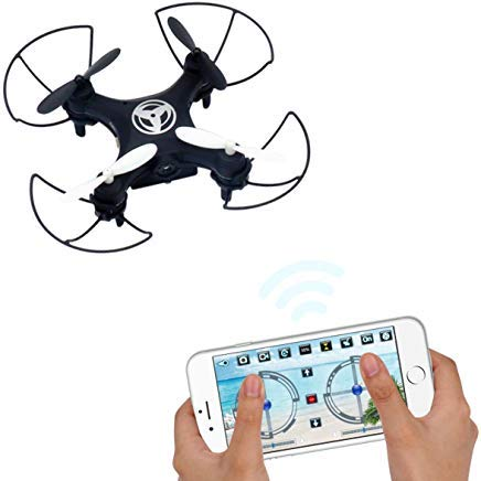 Dwi Dowellin Pocket Drone with camera Mobile Phone Control for iOS/Android APP Wifi RC Hover Rotate Altitude Hold Mini RTF Quadcopter X3 Black