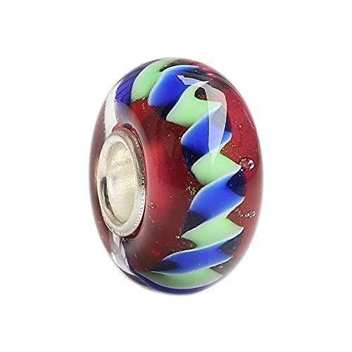 LIJIAN DIY 925 Sterling Silber Farbe 3D Streifen Anhänger Glasperlen Geeignet Für Halsketten, Armbänder, Schmuckgeschenke
