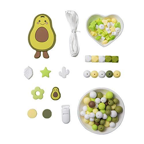 Promise Babe Silikonperlen Schnullerkette Selber Machen Silikon Avocado Beißring Diy Kit Kinderkrankheiten Perlen Set