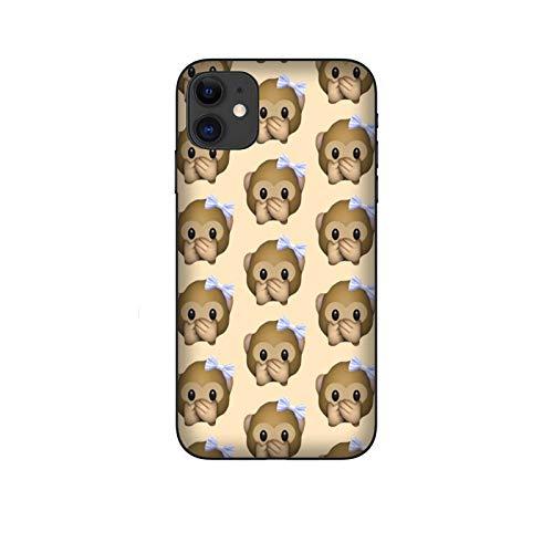 Funda iPhone 11 Carcasa Compatible para Apple iPhone 11 Whatsapp Emoticon de Mono pequeño no Habla/Imprimir también en los Lados/Teléfono Duro A presión Antideslizante Antideslizante Antiarañ