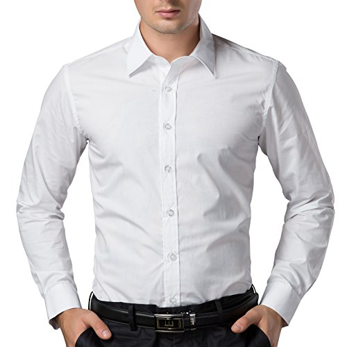 Paul Jones Mens Casual Lapel Neck Dress Shirts Size S, White 52-3