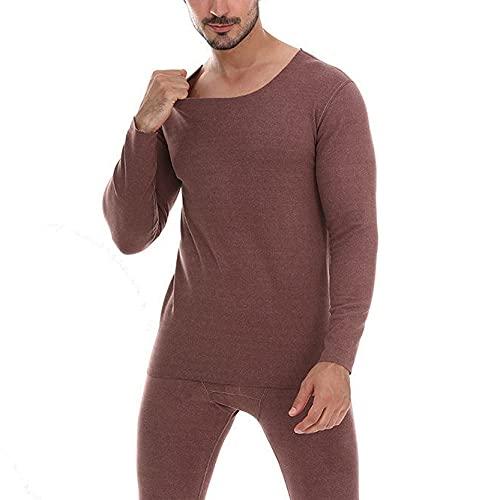 Camiseta Termica Hombre,Top Térmico Para Hombre Simple Color Sólido Granate Cuello Redondo Leggings Térmicos Para Hombre Tops Suaves Y Cálidos Para Hombre Calzoncillos Largos Casuales Para Entre