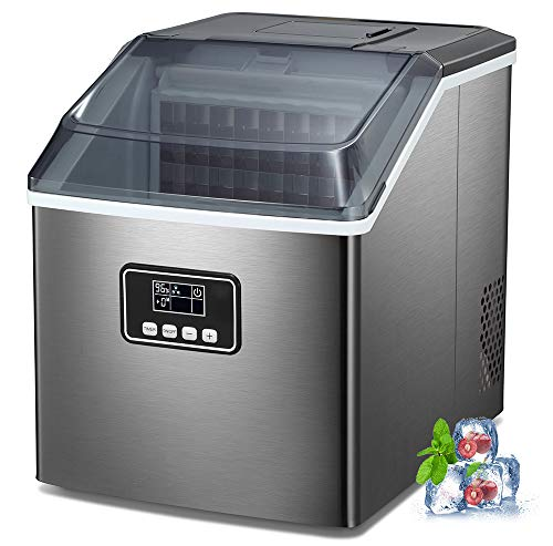 AGLUCKY Counter top Ice Maker Machine,40LBS/24H Ice Machine,Portable Ice Cube Makers with Self-cleaning,Easy-to-Control…