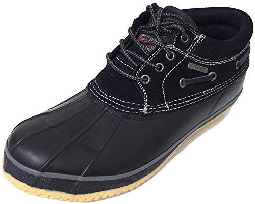 ClimaTex SB-30 Men's Short Duck Boots Suede Thermolite Insulated Waterproof Snow Rain Shoes (10 D(M) US, Black/Black)