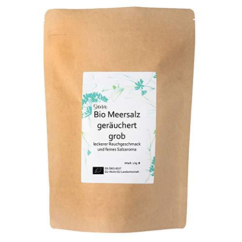 Suna Bio Meersalz geräuchert grob | leckerer Rauchgeschmack und feines Salzaroma | Großpackung 1 kg