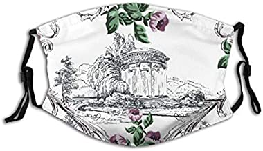 117 VANKINE Arch Vintage in Toile De Jouy Style with Small Flowers and Baroque Swirls On Damask Dust Washable Reusable Filter and Reusable Mouth Warm Windproof Cotton Face