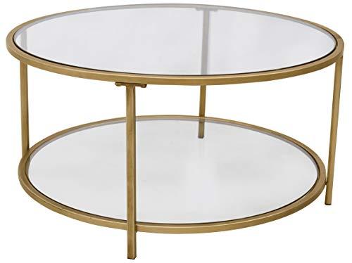 "Amazon Brand – Ravenna Home Parker Round Shelf Storage Coffee Table, 31.5""W, Glass and Gold"