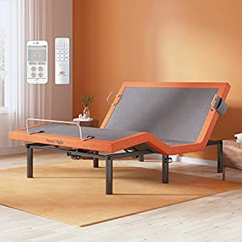 Full Size Adjustable Bed Frame Sweetnight Tranquil Adjustable Base with Bluetooth Wireless Syncing Under Bed Light with Motion Sensor Comfort Customise Positions Dual USB Ports Upholstered