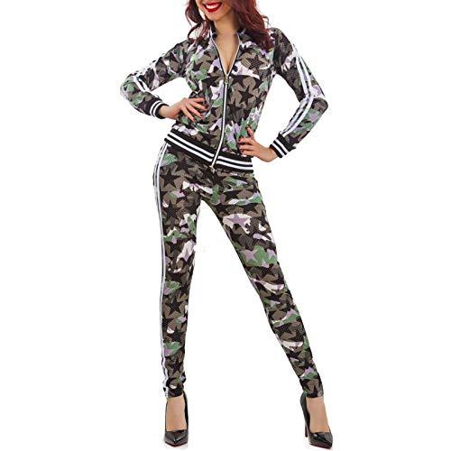 Toocool - Tuta Donna Completo Fitness Sport Traforata Mimetica Giacca Zip Pantaloni K5606 [M/L,Verde]